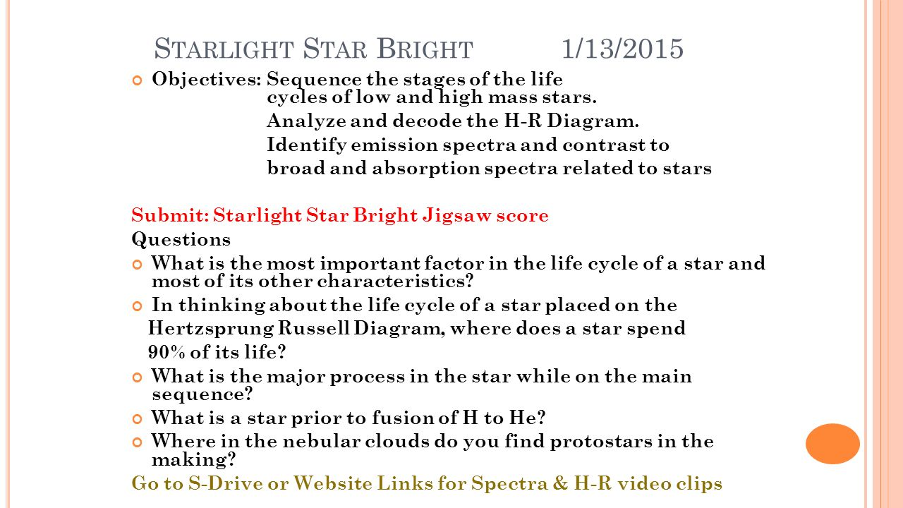 T he sun and stars unit 3 the sun is a star unit 3a starlight s tarlight s tar b right 1132015 objectivessequence the stages pooptronica