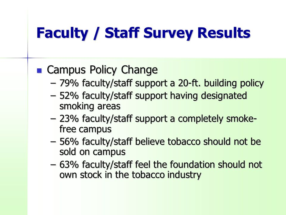 Faculty / Staff Survey Results Campus Policy Change Campus Policy Change –79% faculty/staff support a 20-ft.