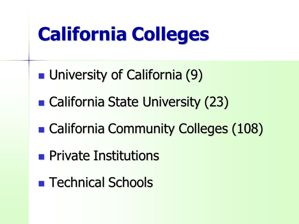 California Colleges University of California (9) University of California (9) California State University (23) California State University (23) California Community Colleges (108) California Community Colleges (108) Private Institutions Private Institutions Technical Schools Technical Schools