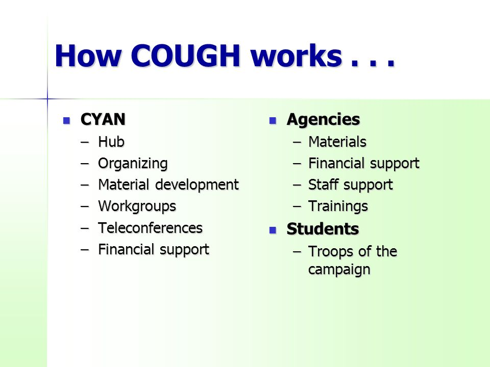 How COUGH works...