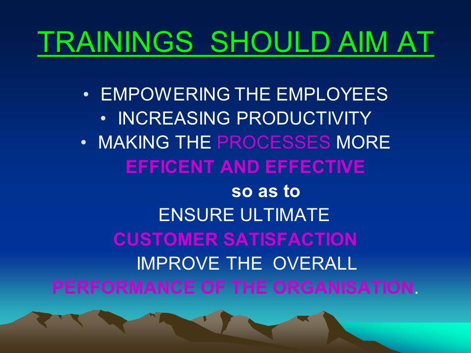 TRAININGS SHOULD AIM AT EMPOWERING THE EMPLOYEES INCREASING PRODUCTIVITY MAKING THE PROCESSES MORE EFFICENT AND EFFECTIVE so as to ENSURE ULTIMATE CUS