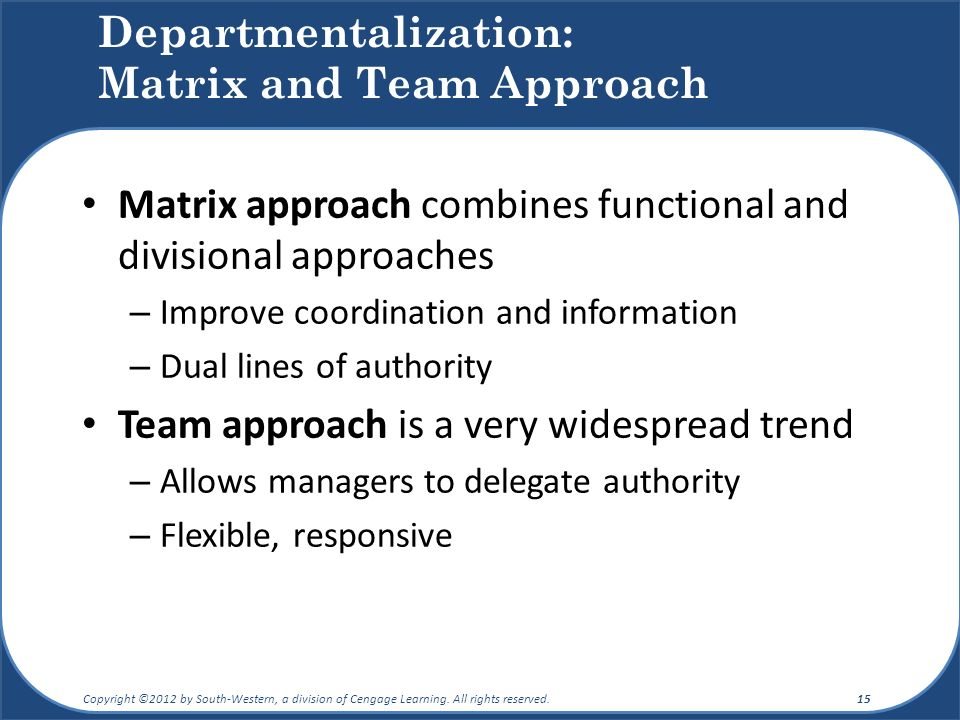 Departmentalization: Matrix and Team Approach Matrix approach combines functional and divisional approaches – Improve coordination and information – Dual lines of authority Team approach is a very widespread trend – Allows managers to delegate authority – Flexible, responsive Copyright ©2012 by South-Western, a division of Cengage Learning.