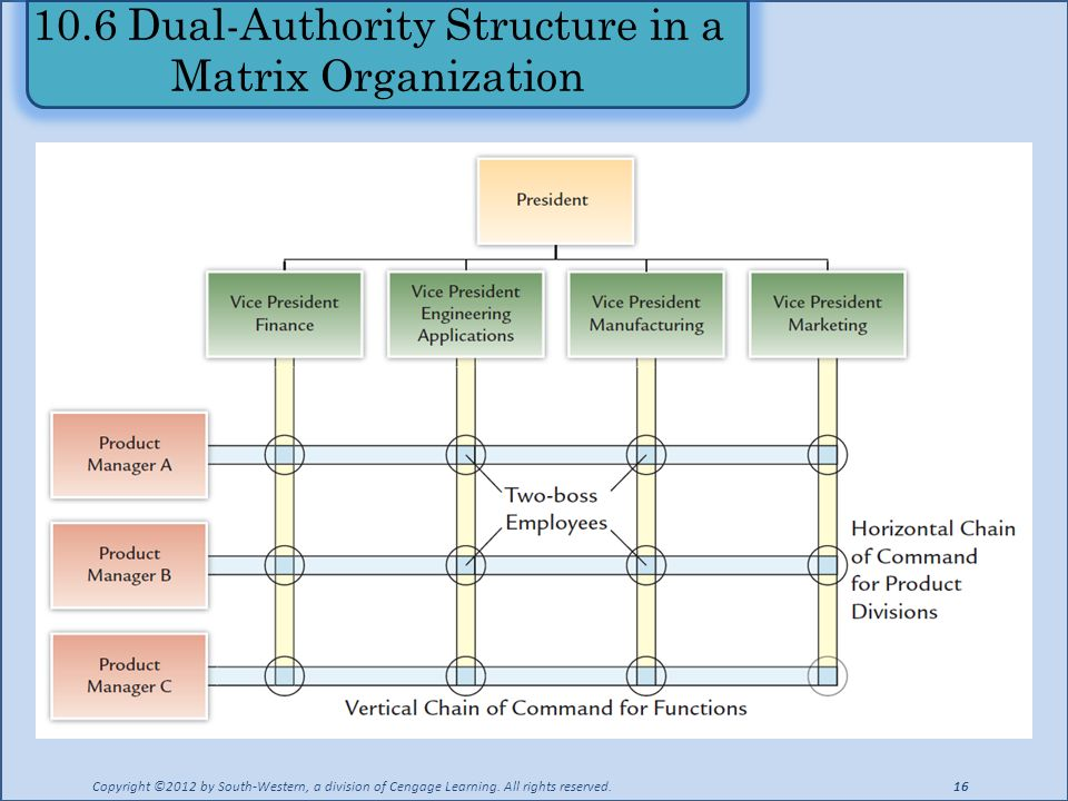 10.6 Dual-Authority Structure in a Matrix Organization Copyright ©2012 by South-Western, a division of Cengage Learning.