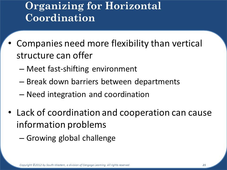 Organizing for Horizontal Coordination Companies need more flexibility than vertical structure can offer – Meet fast-shifting environment – Break down barriers between departments – Need integration and coordination Lack of coordination and cooperation can cause information problems – Growing global challenge Copyright ©2012 by South-Western, a division of Cengage Learning.