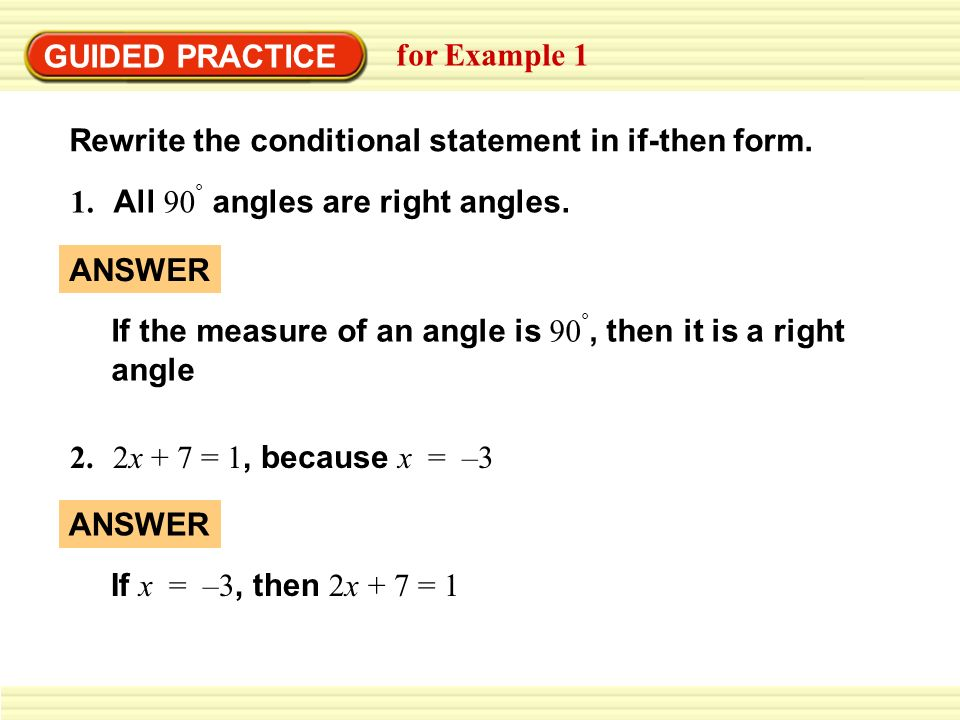 EXAMPLE 1 Rewrite a statement in if-then form Rewrite the ...