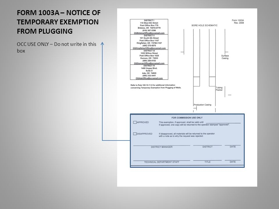 FORM 1003A – NOTICE OF TEMPORARY EXEMPTION FROM PLUGGING. - ppt ...