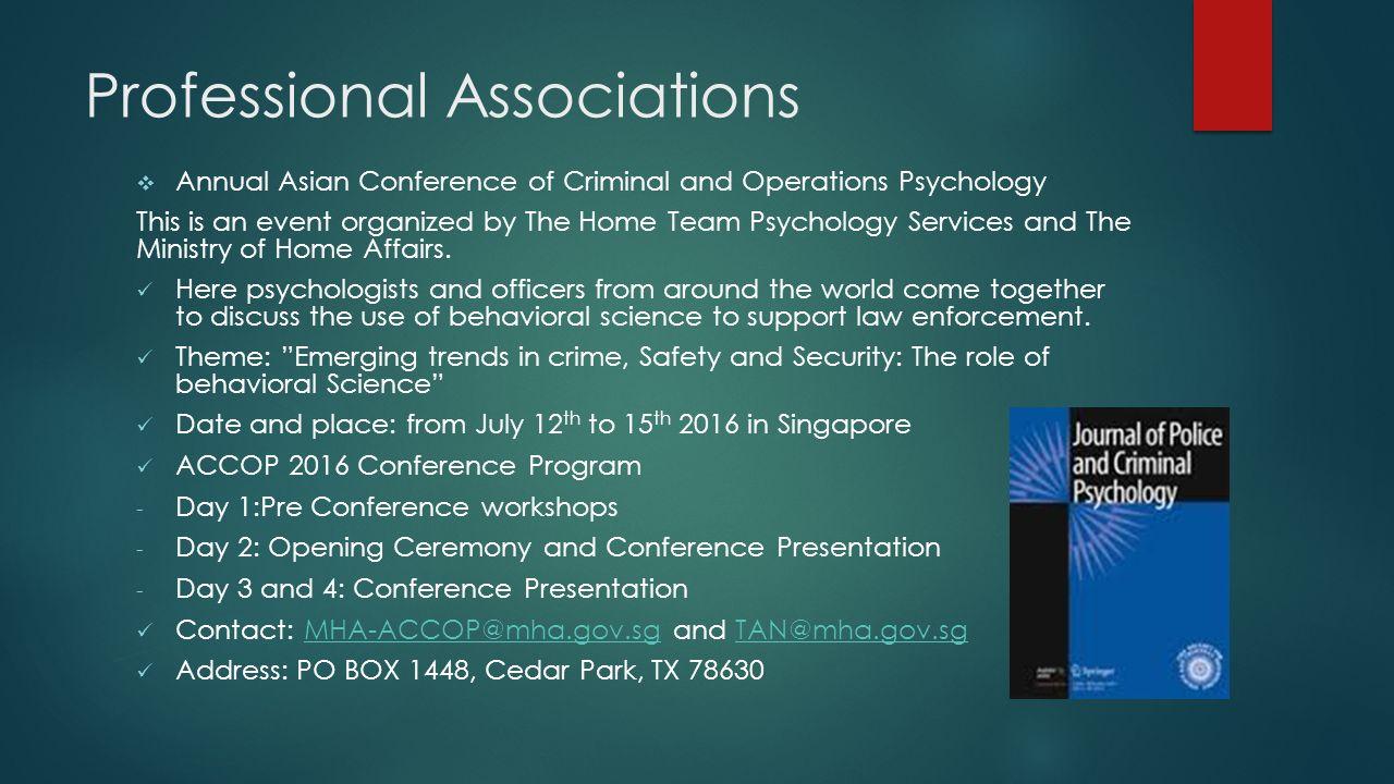 criminal psychology by rachel delgado what do we do 11 professional associations