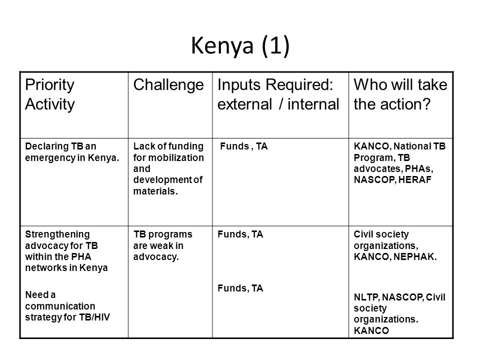 Kenya (1) Priority Activity ChallengeInputs Required: external / internal Who will take the action.