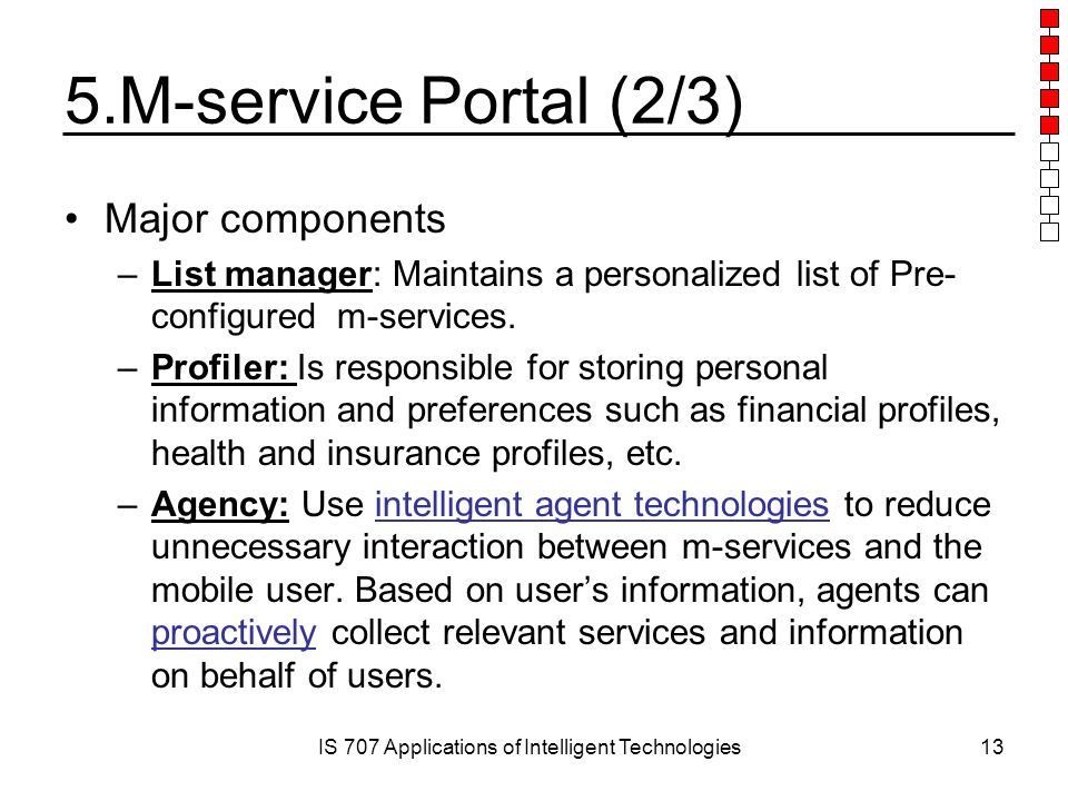 IS 707 Applications of Intelligent Technologies13 5.M-service Portal (2/3) Major components –List manager: Maintains a personalized list of Pre- configured m-services.