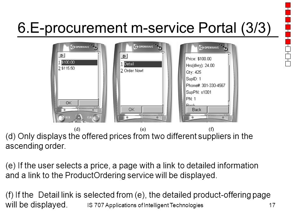 IS 707 Applications of Intelligent Technologies17 6.E-procurement m-service Portal (3/3) (d) Only displays the offered prices from two different suppliers in the ascending order.