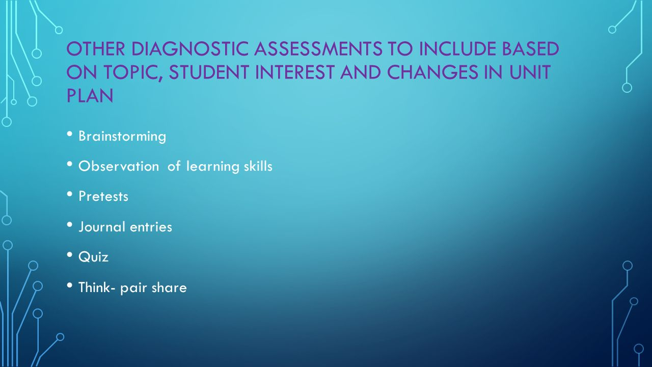 OTHER DIAGNOSTIC ASSESSMENTS TO INCLUDE BASED ON TOPIC, STUDENT INTEREST AND CHANGES IN UNIT PLAN Brainstorming Observation of learning skills Pretests Journal entries Quiz Think- pair share