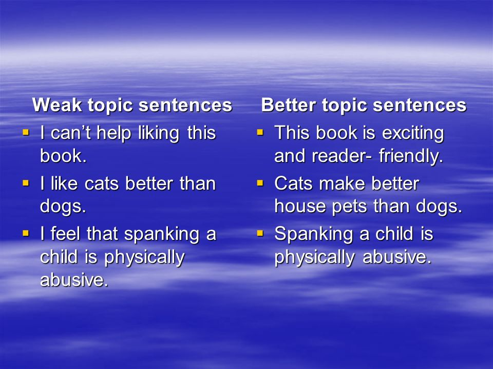 Help With a Topic Sentence?