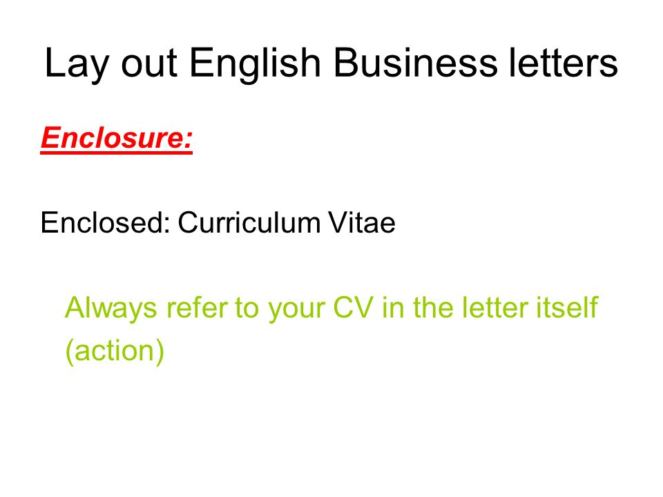 Lay Out English Business Letters Sender'S Address Companies