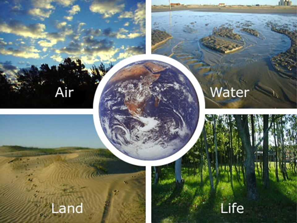 4 elements including air, water, land and life