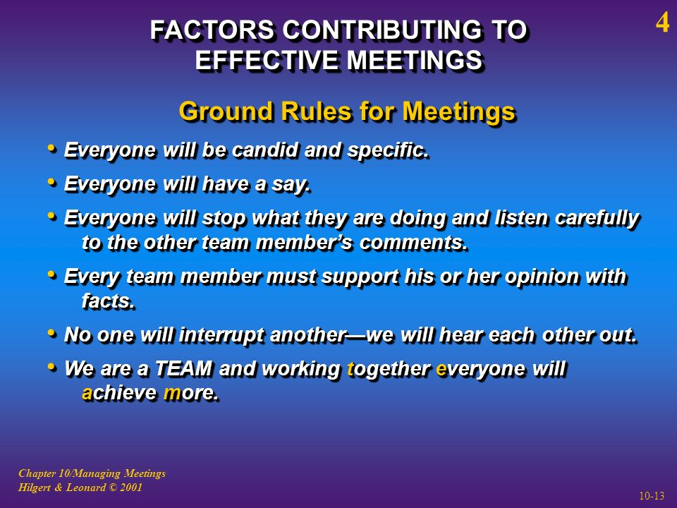 Chapter 10/Managing Meetings Hilgert & Leonard © 2001 10-13 FACTORS CONTRIBUTING TO EFFECTIVE MEETINGS 4 Ground Rules for Meetings Everyone will be candid and specific.
