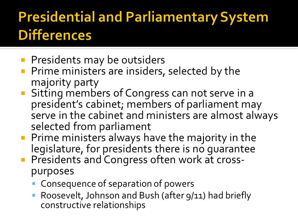 difference between presidential and parlimentry system Differences of parliamentary and presidential government outline the differences between parliamentary and presidential government one of the key features of any political system is the relationship between the assembly and the government, that is, the relationship between legislative and executive authority.