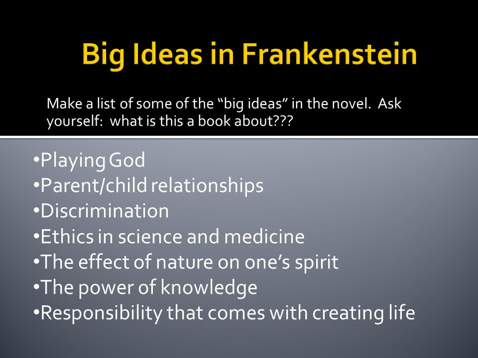essay on frankenstein playing god Frankenstein multimedia essay she does this through the character of victor frankenstein playing god and showing hubris the three ways she does this are.
