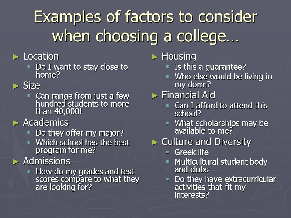 Image result for factors in choosing a college
