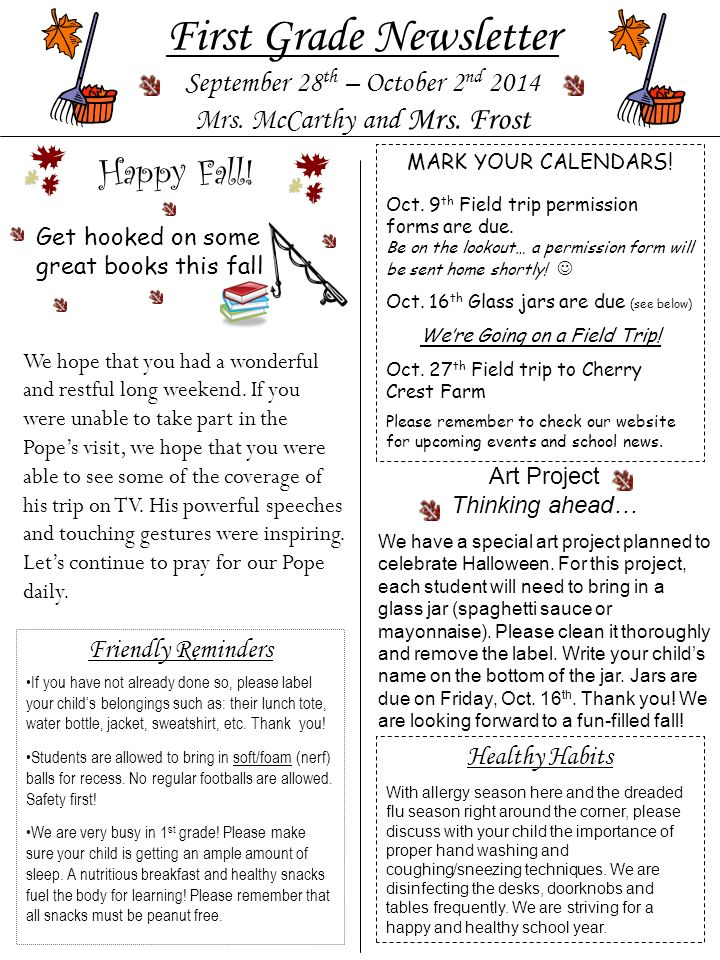 First Grade Newsletter September 28 th – October 2 nd 2014 Mrs.