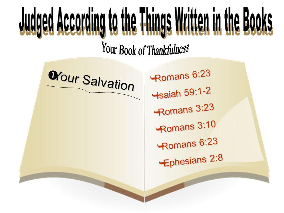  Your Salvation  Romans 6:23  Isaiah 59:1-2  Romans 3:23  Romans 3:10  Romans 6:23  Ephesians 2:8