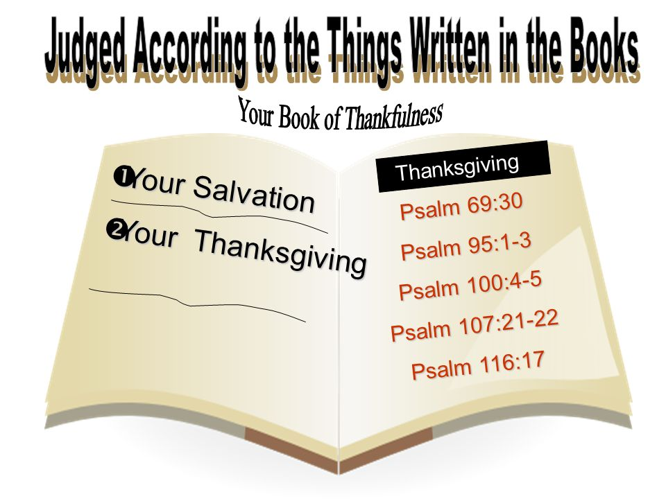  Your Salvation  Your Thanksgiving Thanksgiving Psalm 69:30 Psalm 95:1-3 Psalm 100:4-5 Psalm 107:21-22 Psalm 116:17