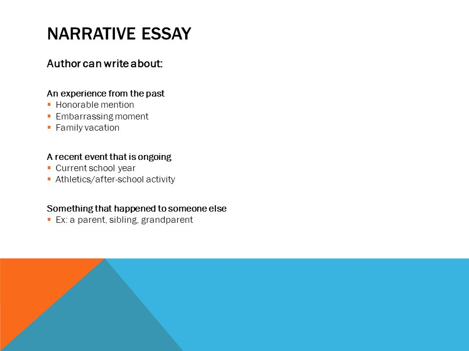 four types of writing expository essays descriptive essays  10 narrative essay author can write about an experience from the past  honorable mention  embarrassing moment