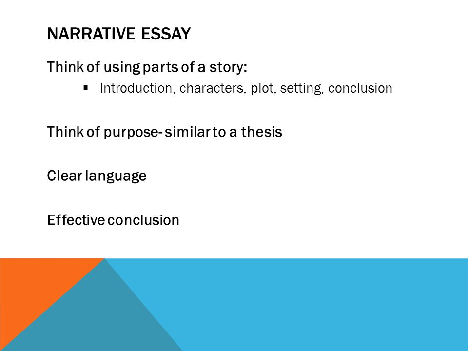 four types of writing expository essays descriptive essays  11 narrative essay think of using parts of a story  introduction characters plot setting conclusion think of purpose similar to a thesis clear