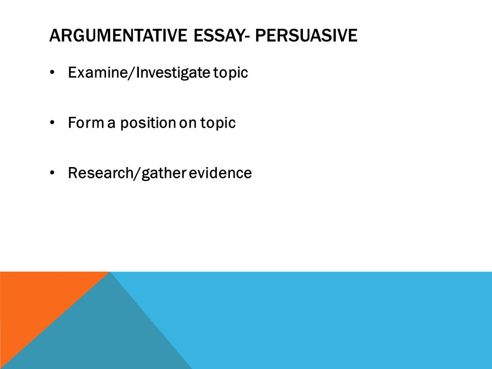 four types of writing expository essays descriptive essays 12 argumentative essay persuasive examine investigate topic form a position on topic research gather evidence