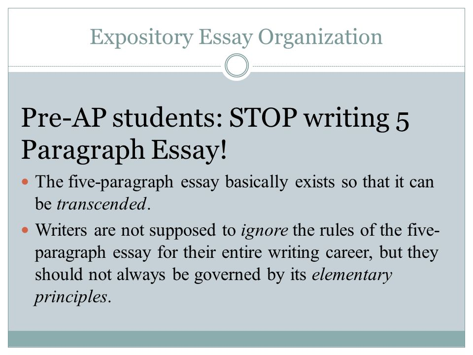 writing a 5 paragraph essay A classic format for compositions is the five-paragraph essay it is not the only format for writing an essay, of course, but it is a useful model for you to keep in mind, especially as you begin to develop your composition skills.