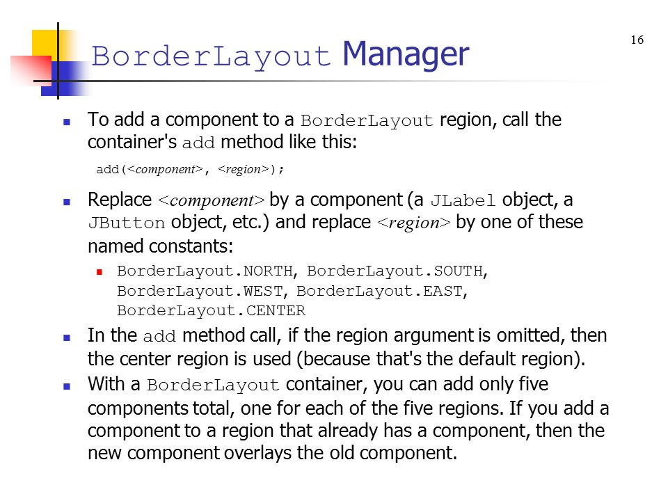 Chapter 18 GUI Programming - Component Layout, Additional GUI ...