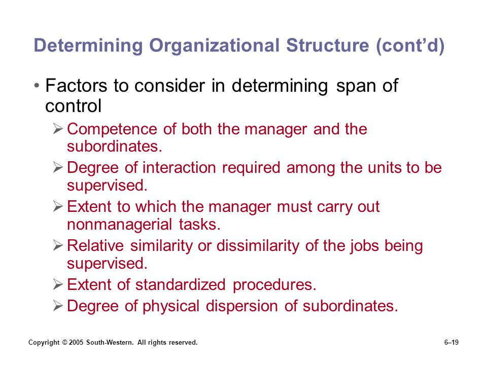 Copyright © 2005 South-Western. All rights reserved.6–19 Determining Organizational Structure (cont'd) Factors to consider in determining span of cont