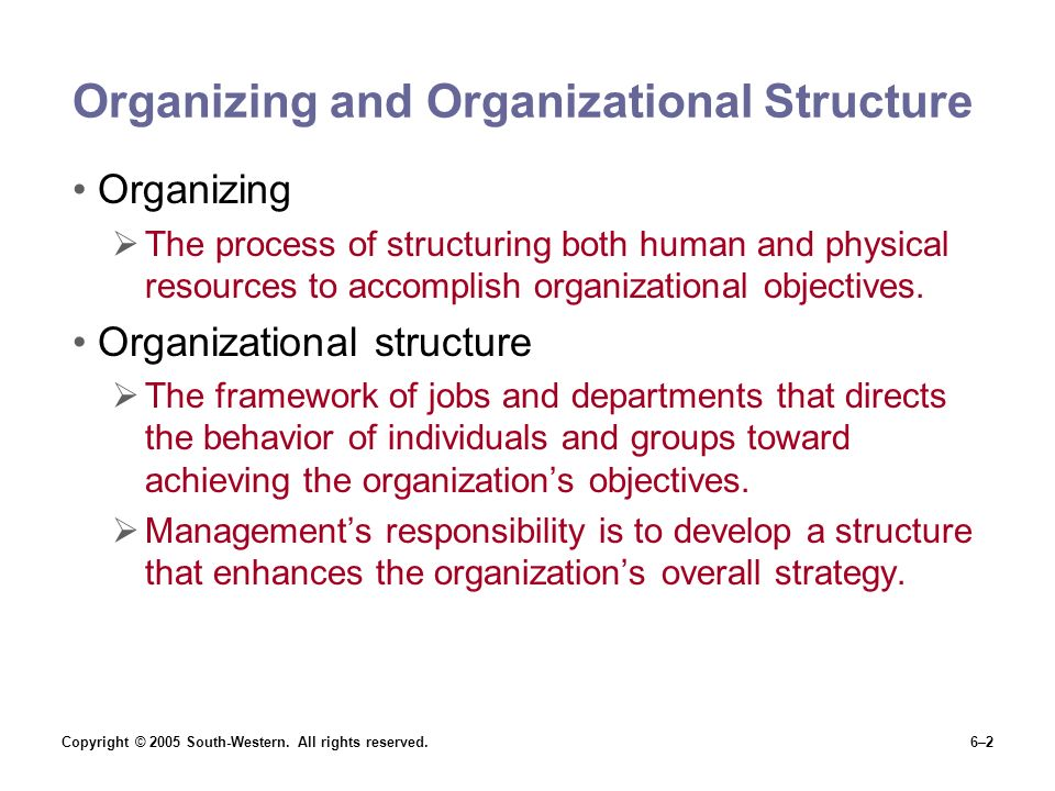 Copyright © 2005 South-Western. All rights reserved.6–2 Organizing and Organizational Structure Organizing  The process of structuring both human and