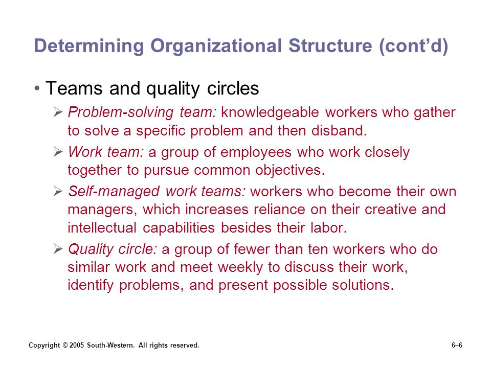 Copyright © 2005 South-Western. All rights reserved.6–6 Determining Organizational Structure (cont'd) Teams and quality circles  Problem-solving team