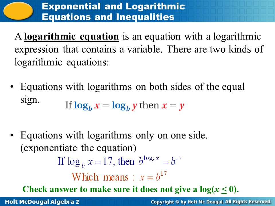 Answers to Math Exercises & Math Problems: Logarithmic Equations ...
