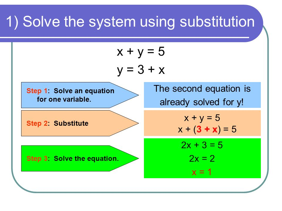 1) Solve the system using substitution x + y = 5 y = 3 + x Step 1: Solve an equation for one variable.