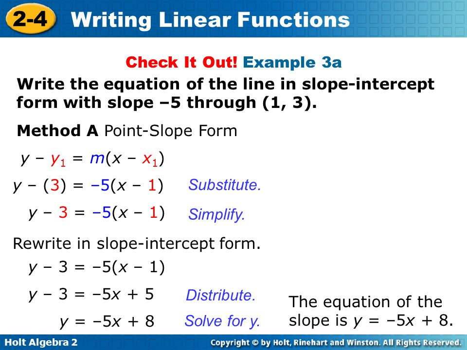 Holt Algebra Writing Linear Functions Recall from Lesson 2-3 that ...