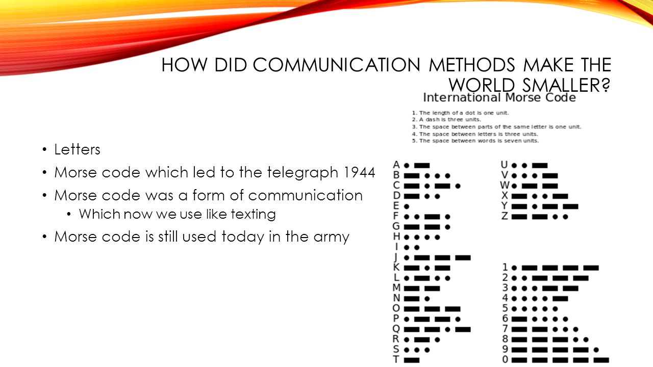 HOW DID COMMUNICATION METHODS MAKE THE WORLD SMALLER