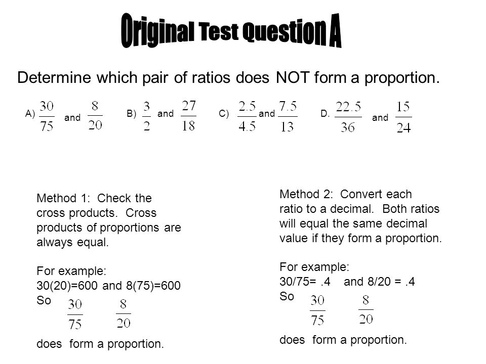A) and B) andC) andD. and Determine which pair of ratios does NOT ...