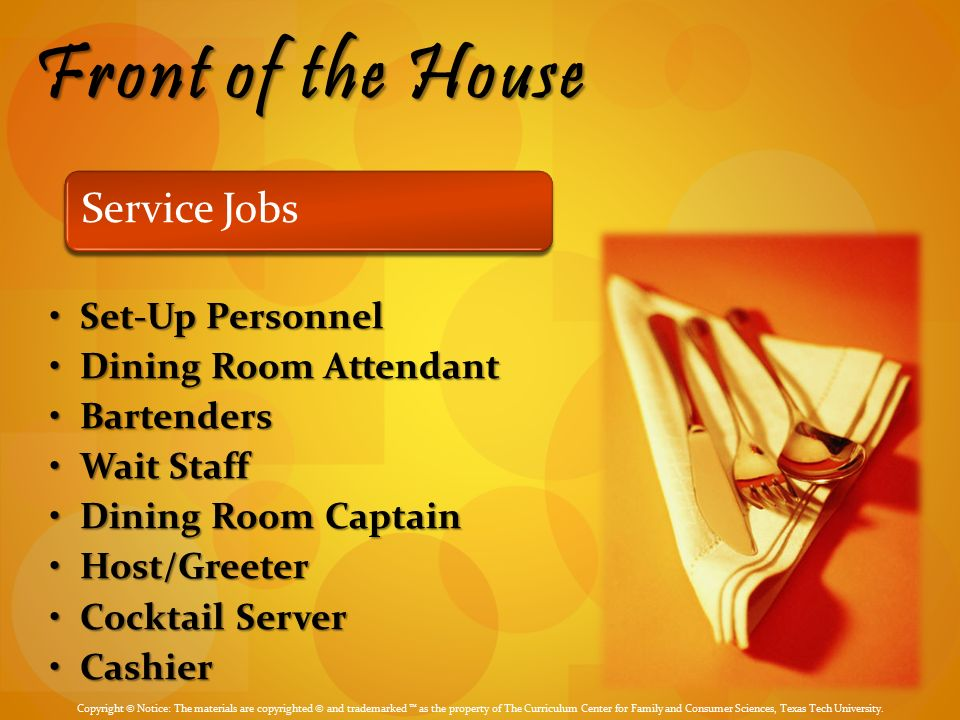 Dining Room Service Personnel Sets