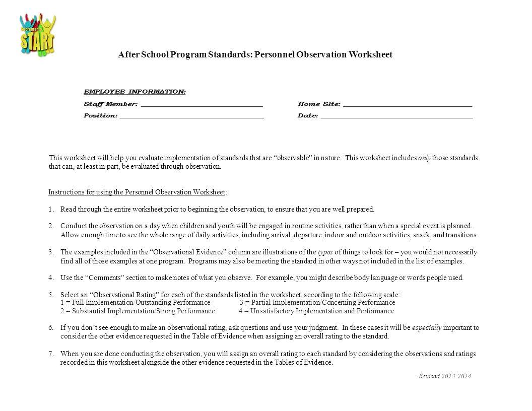 After School Program Standards: Personnel Observation Worksheet ...