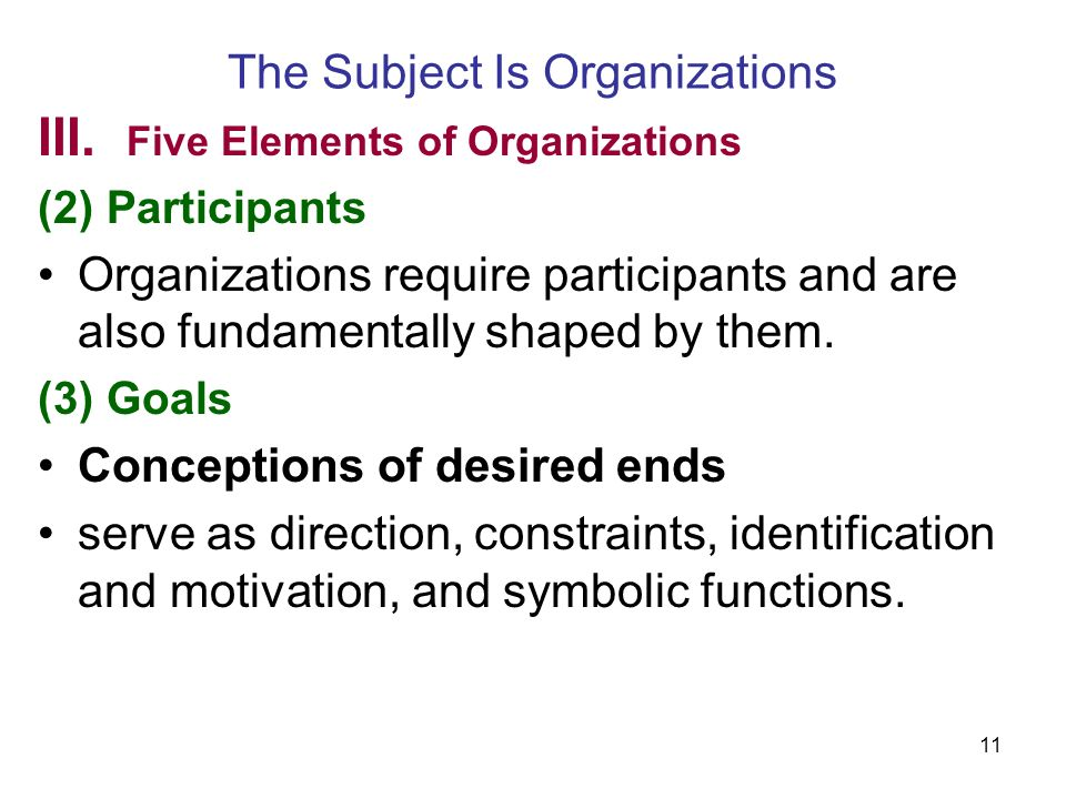 11 The Subject Is Organizations III.