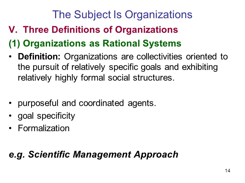14 The Subject Is Organizations V.