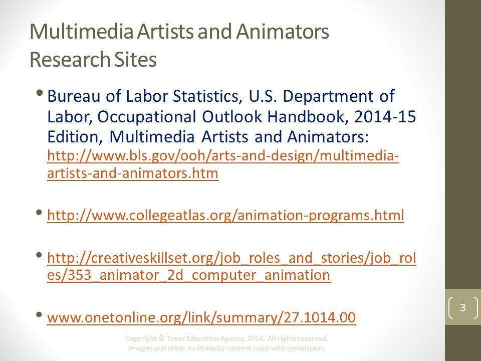 Overview Of The Animation Industry Copyright C Texas Education