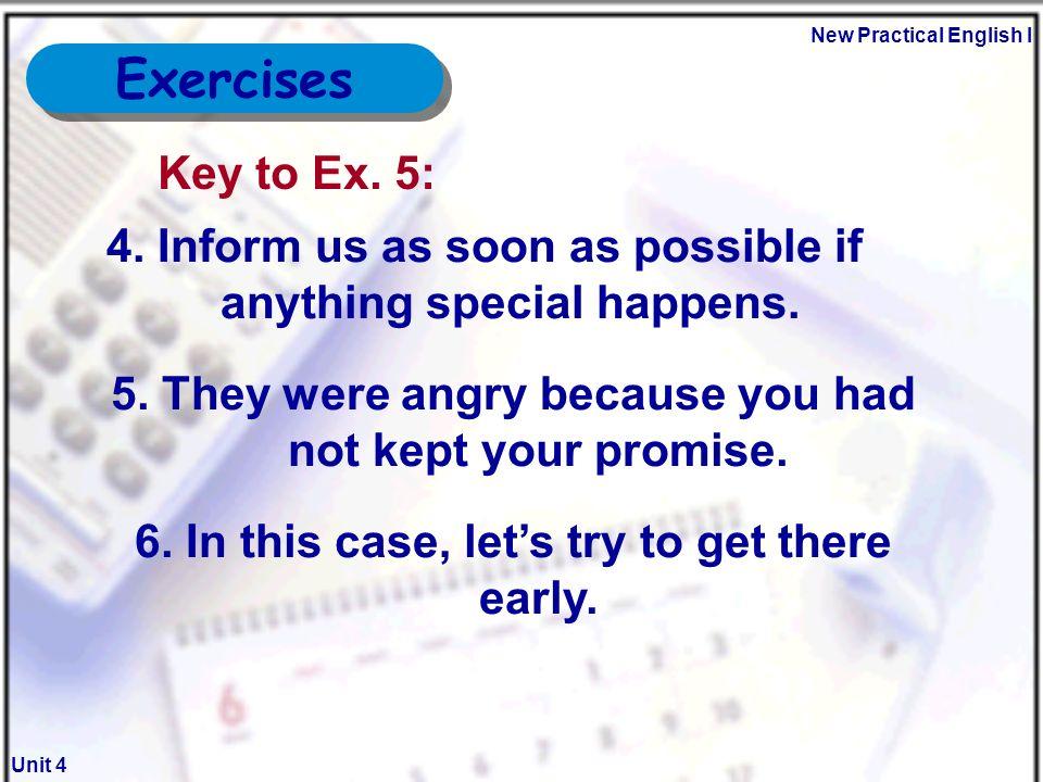 New Practical English I Unit 4 Exercises Key To Ex.
