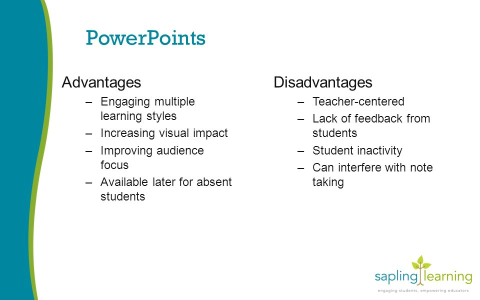 PowerPoints Advantages –Engaging multiple learning styles –Increasing visual impact –Improving audience focus –Available later for absent students Disadvantages –Teacher-centered –Lack of feedback from students –Student inactivity –Can interfere with note taking