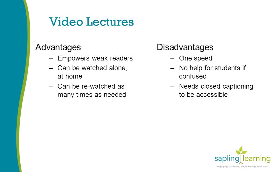 Video Lectures Advantages –Empowers weak readers –Can be watched alone, at home –Can be re-watched as many times as needed Disadvantages –One speed –No help for students if confused –Needs closed captioning to be accessible