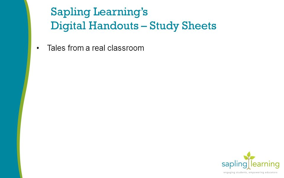 Sapling Learning's Digital Handouts – Study Sheets Tales from a real classroom