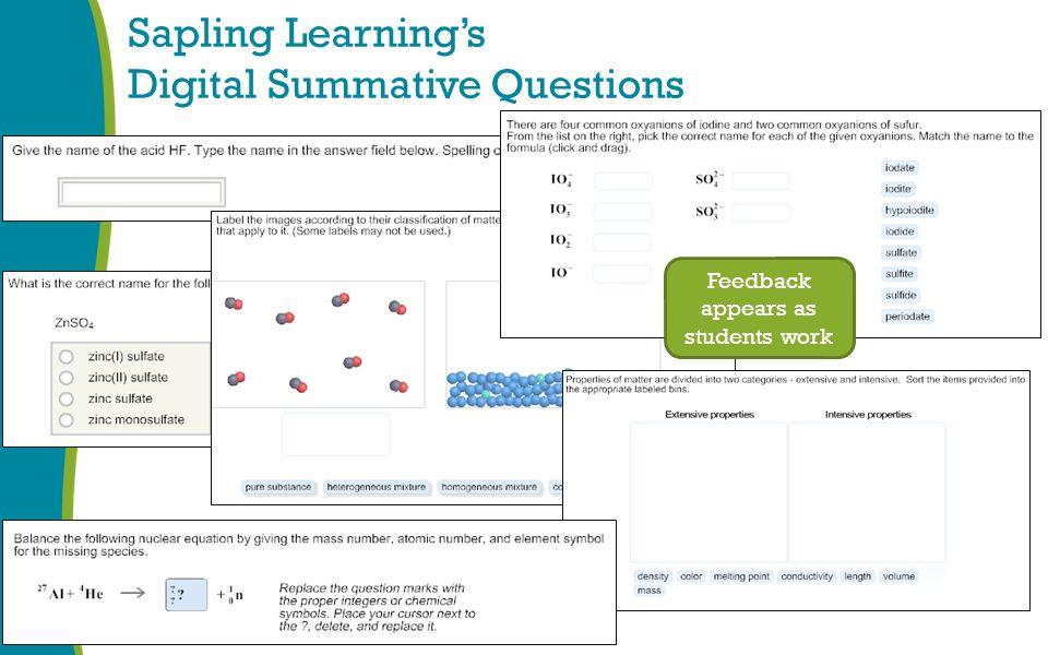 Sapling Learning's Digital Summative Questions Feedback appears as students work
