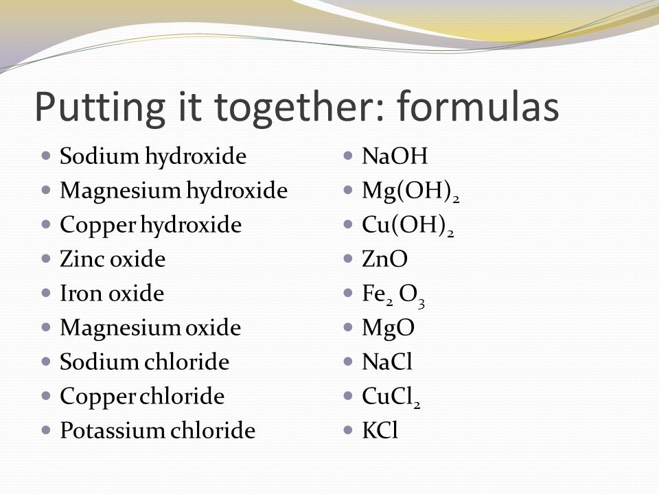 Name chemical substances from their formula and write simple word 5 putting urtaz Images