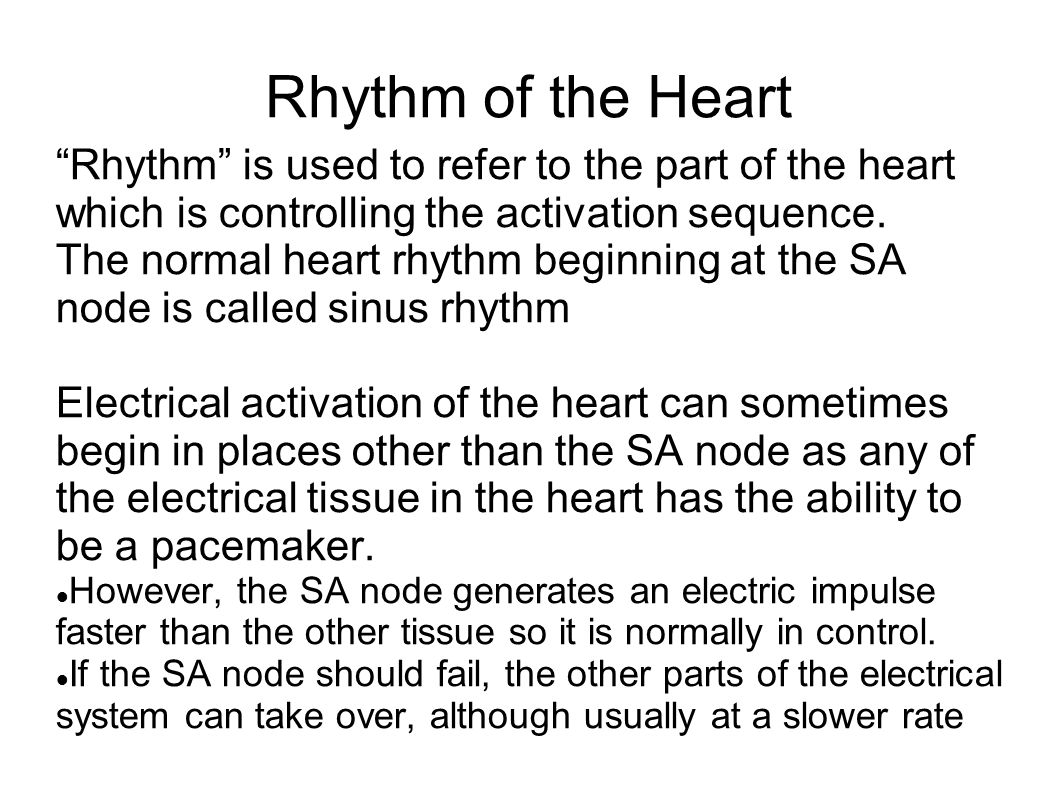 rhythm of the heart rhythm is used to refer to the part of the heart which